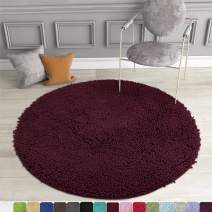 MAYSHINE Round Bath Mat Non-Slip Chenille 3 Feet Shaggy Bathroom Rugs Extra Soft and Absorbent Perfect Plush Carpet for Living Room Bedroom, Machine Wash/Dry-Burgundy