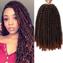 12 inch Spring Twist Crochet Braids Bomb Twist Crochet Hair Beyond Beauty Ombre Colors Synthetic Fluffy Hair Extension 3 Packs (12 Inch, M1B 350)