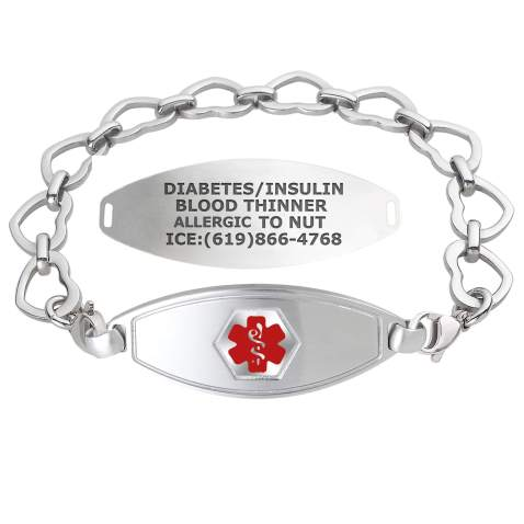 Free Engraving Quality Ladies Stainless Steel Gold Color Medical ID Bracelet