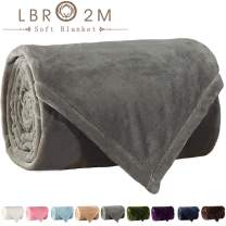 LBRO2M Fleece Bed Blanket Super Soft Warm Fuzzy Velvet Plush Throw Lightweight Cozy Couch Blankets (Throw(60x44 Inch), Grey)