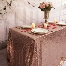 TRLYC Seamless Rose Gold 90 by 132 Inch Sequin Tablecloth Wedding Banquet Party Rectangle Table Cover