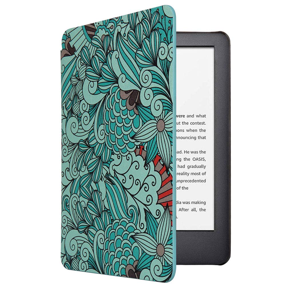 CoBak Case for All New Kindle 10th Generation 2019 Released - Will Not Fit Kindle Paperwhite or Kindle Oasis, Premium PU Leather Smart Cover with Auto Sleep and Wake, Floral