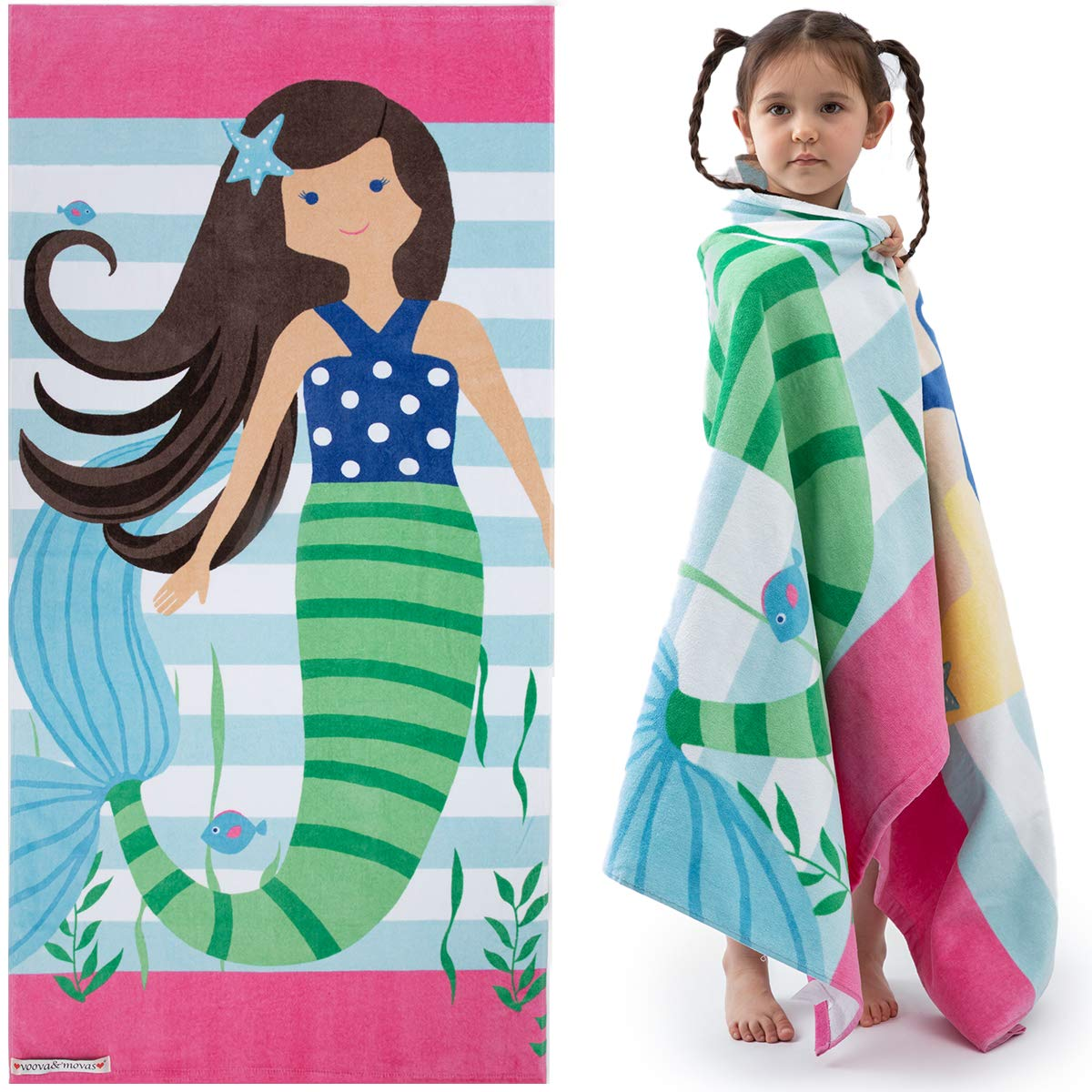 """VOOVA & MOVAS Kids Bath/Pool/Beach Towel for Toddlers Boys Girls,Oversized 30""""x60"""",Soft Absorbent Cotton Swim Cover ups,Mermaid Brown Theme"""