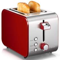 Toaster 2 Slice Prime Rated, NOVETE Retro Red Toaster with Wide Slots, 7 Bread Shade Settings & Removable Crumb Tray, High Lift Lever, Compact Stainless Steel 2 Slot Toaster for Bread Waffles, 800W (2 Slices, Red)