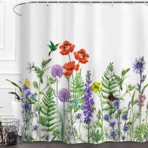 Baccessor Shower Curtain Wildflowers Watercolor Spring Botanical Floral Herbs Plant Leaf Blossom Bird Butterflies Country Waterproof Fabric Bathroom Decor Set with Hooks,60 W x 72 L Inches
