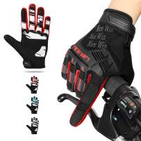 NICEWIN Motorcycle Cycling Gloves Full Finger Knuckles Protection Gel Pad Red L