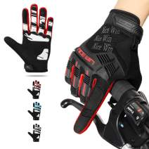 NICEWIN Motorcycle Cycling Gloves Full Finger Knuckles Protection Gel Pad Red XL