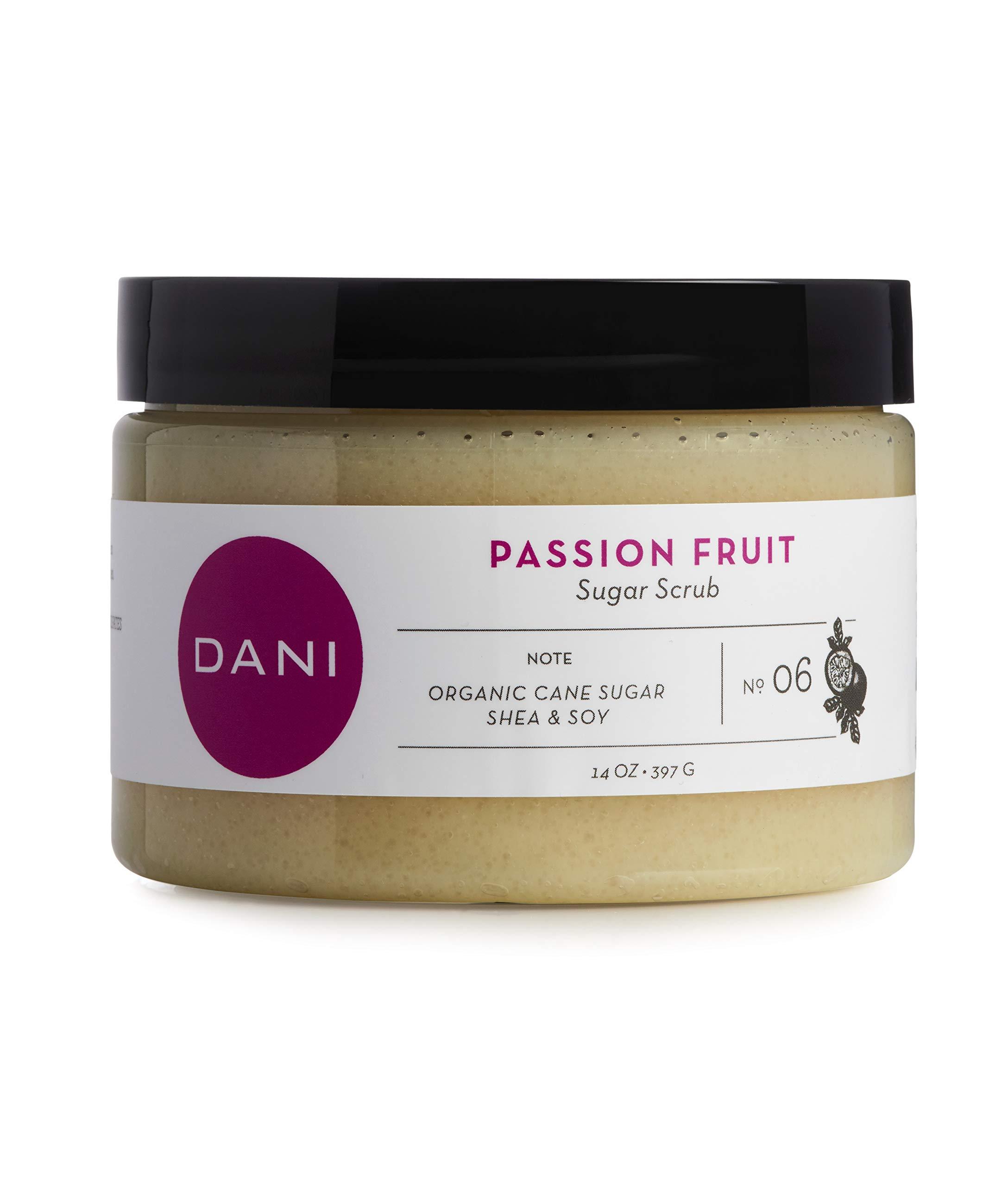 Pure & Gentle Exfoliating Sugar Scrub by DANI Naturals - Juicy Passion Fruit Scented Body Polish - Organic Cane Sugar & Natural Moisturizing Shea Butter - 14 Ounces