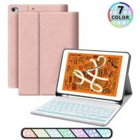 iPad Keyboard Case for iPad 7.9, JUQITECH Smart Case with Backlit Keyboard for iPad Mini 5 5th Gen Mini 4 Detachable Wireless Tablet Rechargeable Keyboard Cover Case with Pencil Holder, Rose Gold