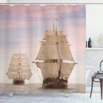 """Ambesonne Ocean Shower Curtain, Sailboat Gaff Top Sail Tall Wooden Sailing Ships Waves Print Photo, Cloth Fabric Bathroom Decor Set with Hooks, 84"""" Long Extra, Cream Blue"""