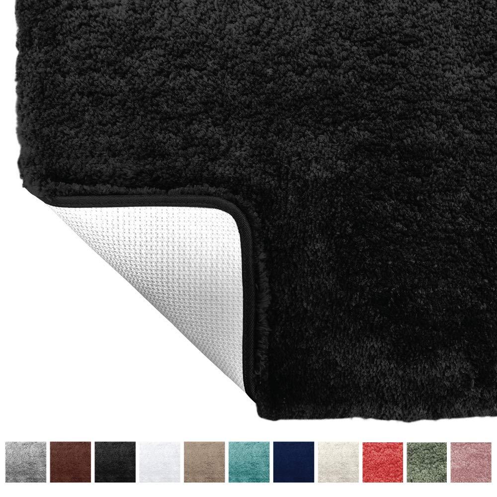 Gorilla Grip Original Premium Luxury Bath Rug, 24x17 Inch, Incredibly Soft, Thick, Absorbent Bathroom Mat Rugs, Machine Wash and Dry, Plush Carpet Mats for Bath Room, Shower, Hot Tub, Spa, Black
