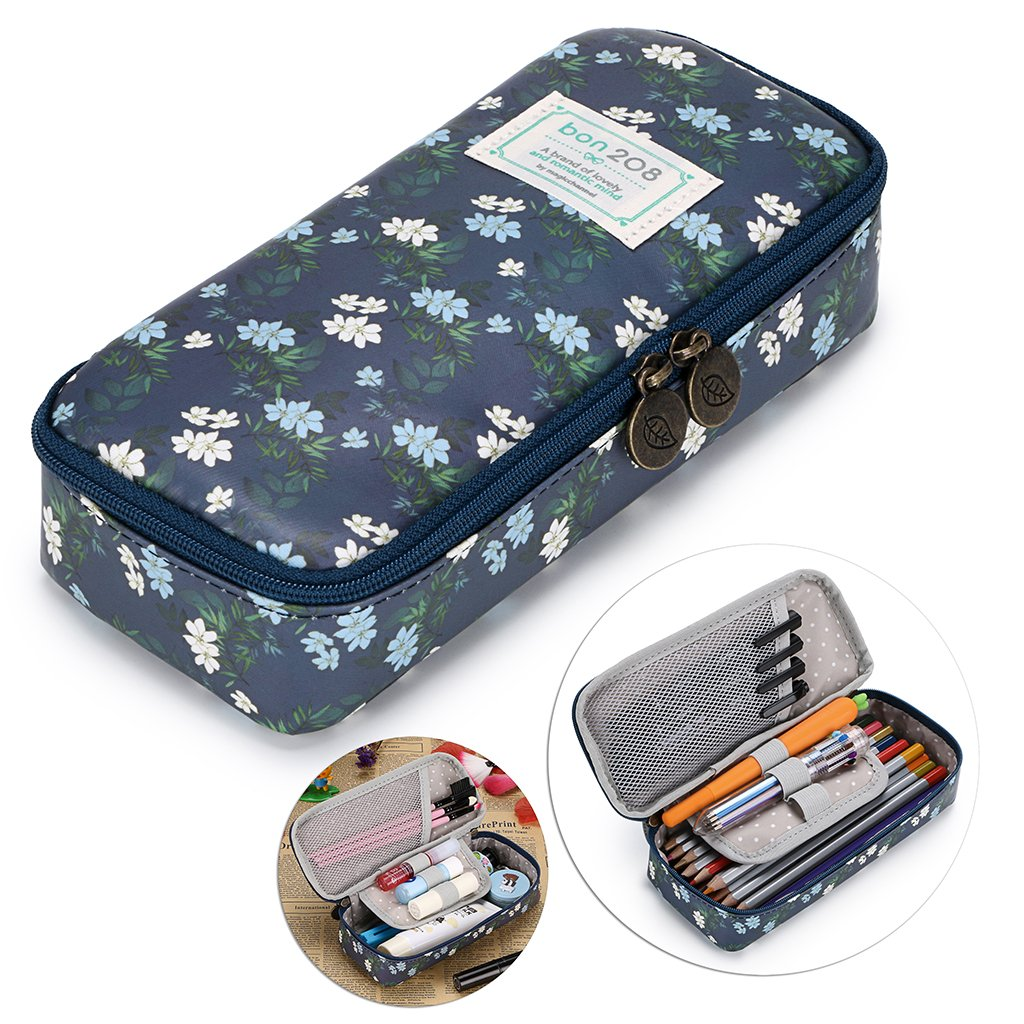 BTSKY Cute Pencil Case - High Capacity Floral Pencil Pouch Stationery Organizer Multifunction Cosmetic Makeup Bag, Perfect Holder for Pencils and Pens (Dark Blue)