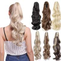 Claw Ponytail Extension Short Curly Wave 145G Thick Jaw Ponytails Pony Tail Hairpiece Clip in Hair Extensions Real Natural as Human Synthetic Fibre for Women 18 inch ash blonde/bleach blonde