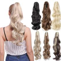 Claw Ponytail Extension Ombre Curly Wave 145G Thick Jaw Ponytails Pony Tail Hairpiece Clip in Hair Extensions Real Natural as Human Synthetic Fibre for Women Long 24 inch light brown & ash blonde