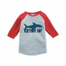 7 ate 9 Apparel Boy's Shark Birthday Red Raglan Tee