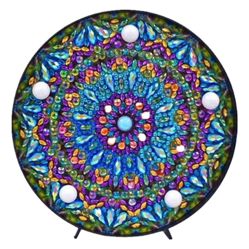 "Mandala Diamond Painting Kit with LED Night Light DIY Handmade Artwork 5D Full Drill Crystal Drawing Kit Bedside Lamp Arts Craft for Home Decoration or Gifts-5.91 X 5.91""(Mandala-A)"