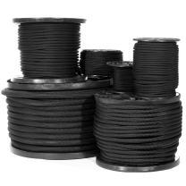Diamond Weave Shock Cord (3/8 Inch, 50 Feet) - Black Elastic Bungee Cord Replacement