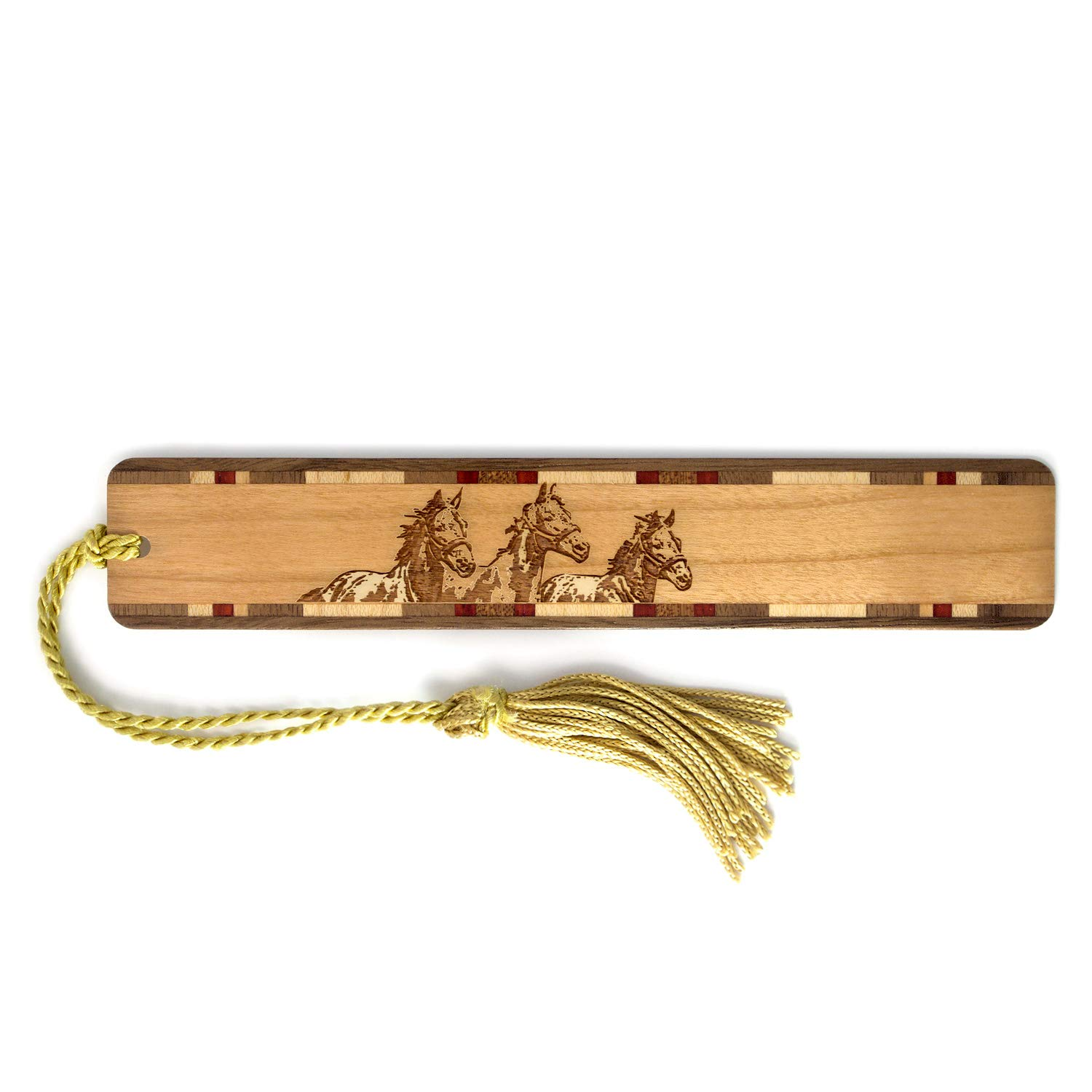 Horses Engraved Wooden Bookmark with Tassel - Search B071GS9Z3Z for Personalized version.