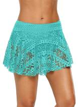 GLUDEAR Women Lace Crochet Hollow Out Swimsuit Tankini Bottom Skirted Board Shorts