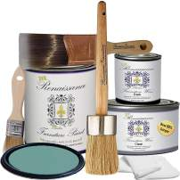 Retique It Chalk Finish Paint by Renaissance - Non Toxic, Eco-Friendly Chalk Furniture & Cabinet Paint - Deluxe Starter Kit, Camelot Blue, RFP-DSKit-CamelotBlue