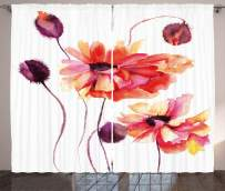 """Ambesonne Floral Curtains, Watercolor Painting Poppy Flowers and Buds Spring Nature Design, Living Room Bedroom Window Drapes 2 Panel Set, 108"""" X 90"""", Dark Brown"""
