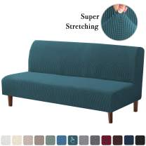 Stretch Armless Futon Covers Full Queen Futon Couch Covers Slipcover Futon Sofa Cover Futon Bed Cover Furniture Protector Covers with Elastic Bottom, Soft Thick Jacquard Washable, Deep Teal