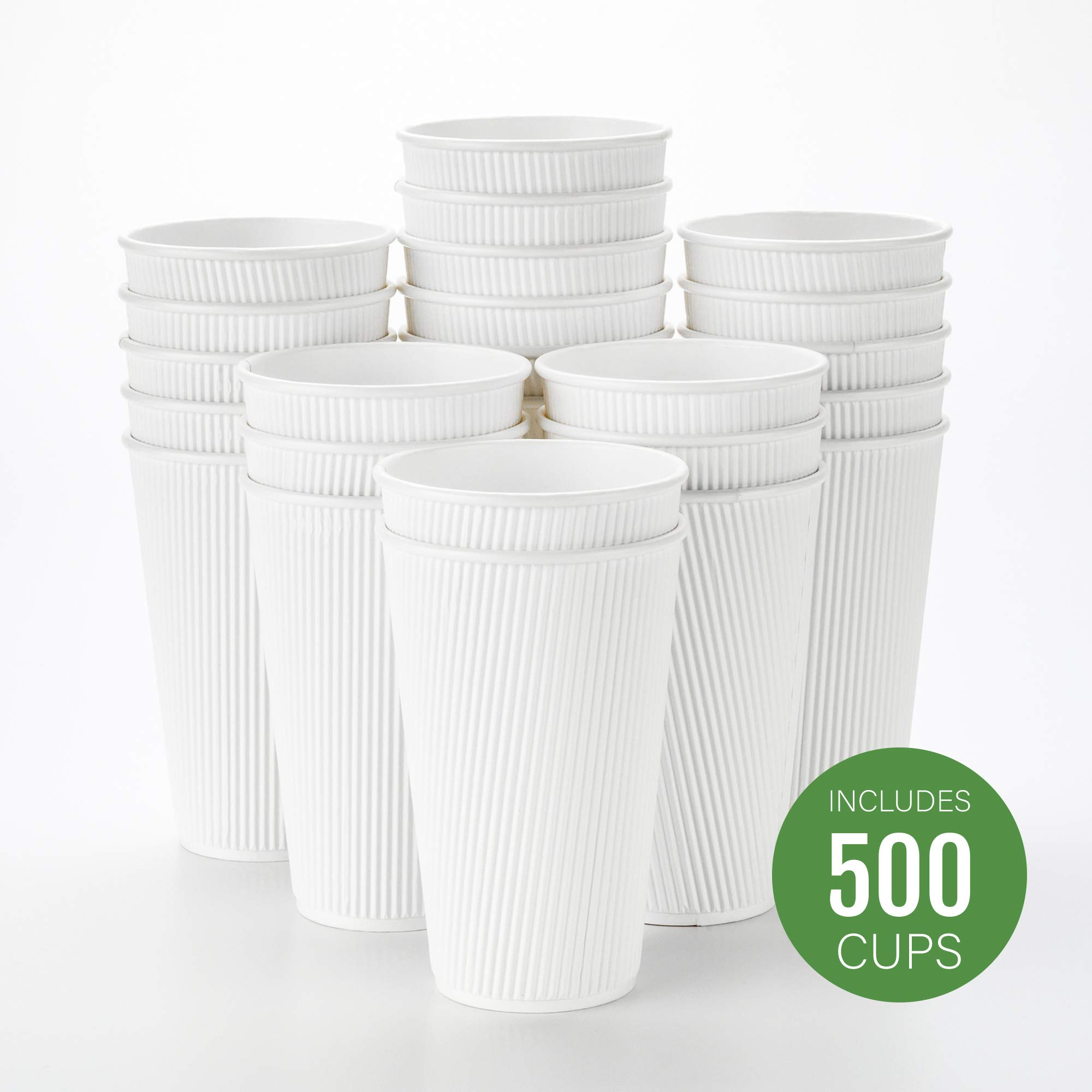 500-CT Disposable White 16-OZ Hot Beverage Cups with Ripple Wall Design: No Need for Sleeves - Perfect for Cafes - Eco-Friendly Recyclable Paper - Insulated - Wholesale Takeout Coffee Cup