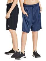 BALEAF Youth Boys' Athletic Running Shorts Pockets Tennis Volleyball Shorts Pack of 2