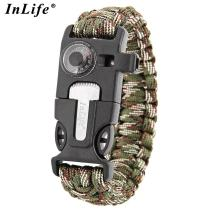 Paracord Bracelet, Outdoor Survival Gear Fire Starter Whistle Compass Emergency Knife, Perfect for Hiking Camping Fishing and Hunting