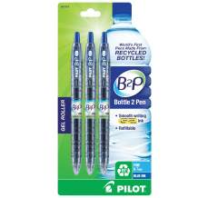 PILOT B2P Colors - Bottle to Pen Refillable & Retractable Rolling Ball Gel Pen Made From Recycled Bottles, Fine Point, Blue G2 Ink/Barrel, 3-Pack (31619).