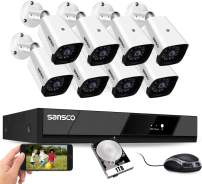 [All-in-One] SANSCO HD 2MP CCTV Cameras Security System 8CH 1080P DVR with 8 FHD Bullet Cameras 1TB Internal Hard Drive Disk (24/7 & Motion Recording, Instant Mobile App Viewing, Push Alerts)