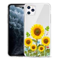 Unov Case Clear with Design for iPhone 11 Pro Max Case Slim Protective Soft TPU Bumper Embossed Pattern 6.5 Inch (Sunflower Blossom)