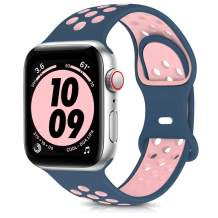 OYODSS Sport Bands Compatible with Apple Watch Band 38mm 40mm 42mm 44mm, Breathable Soft Silicone Replacement Strap Compatible with iWatch Series 6 5 4 3 2 1 SE Women Men Midnight Blue&Vintage Rose