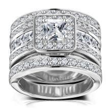 Hiyong Princess Cut Wedding Rings Set - Square Cluster CZ Enhancer Guard 3pcs Halo Bridal Bands Size 5-11