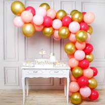 PartyWoo Pink Gold Balloons, 70 pcs 12 inch Baby Pink Balloons, Gold Metallic Balloons, Fuchsia Balloons, Coral Balloons, Peach Balloons, Blush Balloons for Pink Gold Birthday, Pink Gold Party Decor