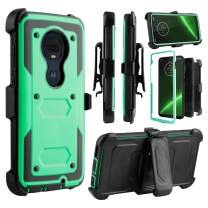 Venoro Moto G7 Case, Moto G7 Plus Case, Heavy Duty Shockproof Full Body Protection Case Cover with Swivel Belt Clip and Kickstand for Motorola Moto G7/Moto G7 Plus (Natural)