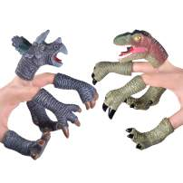 FUN LITTLE TOYS 10 PCs Animal Finger Puppets, Dinosaur Figure Finger Toys, Best Choice for Kids Party Favors, Treasure Box Prizes, Pinata Fillers and Goodie Bag Fillers