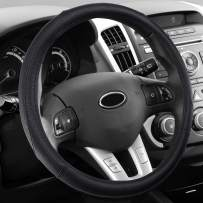 Magiona Steering Wheel Cover for Trunk 15 1/2 inch 16 inch Large Leather Wheel Covers for Car SUV Jeep F150 F250 F350 Ram 4Runner Range Rover Anti Slip Black