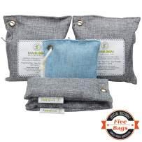 Bamboo Charcoal Odor Eliminator Absorber - Air Purifying Bags Room Basement Bathroom Fridge Car Freshener, 200GX2, 75GX1, 50GX2
