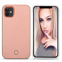 LONHEO iPhone 11 Led Case iPhone 11 Illuminated Cell Phone Case Great for a Bright Selfie and Facetime Light Up Case Cover for iPhone 11 - Rose Gold