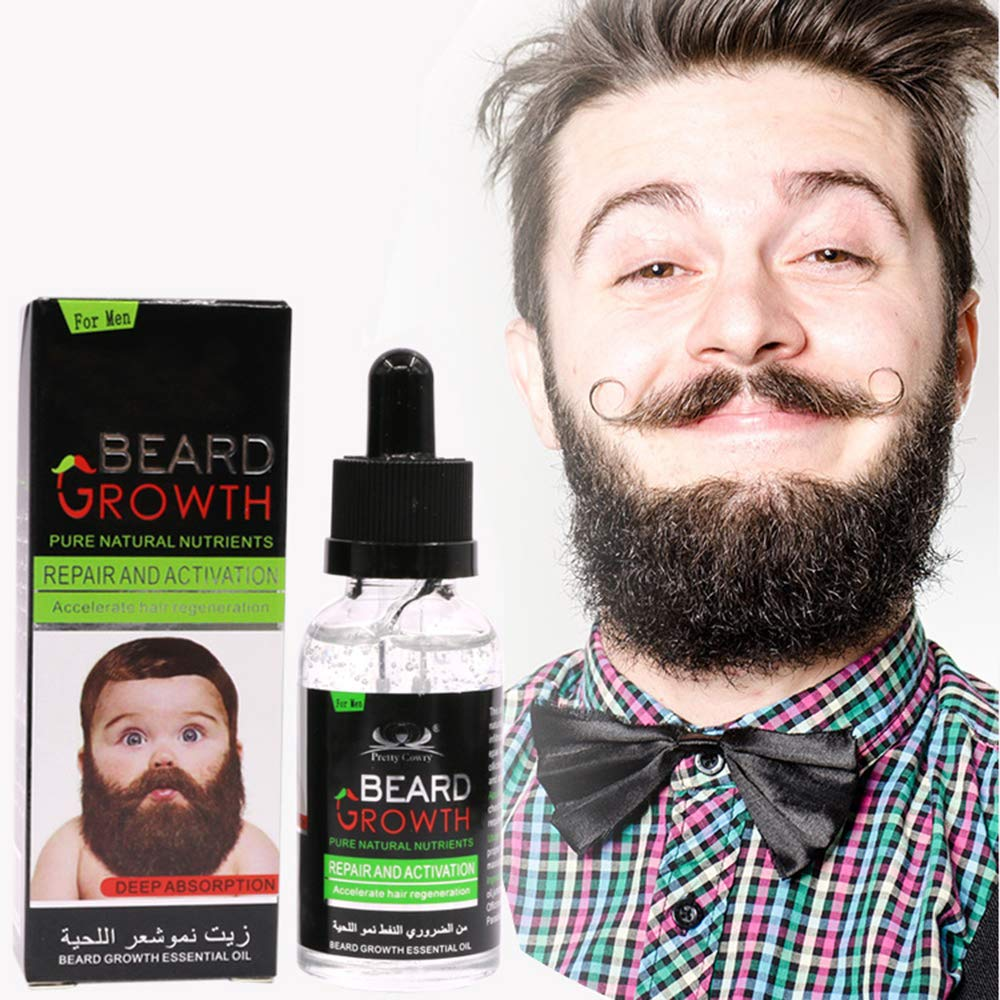 Beard Growth Oil, NUOMAN All Natural Organic Hair Growth Oil Beard Oil Enhancer Facial Nutrition Moustache Grow Beard Oil Conditioner Smooths & Strengthens Beard Growth - 2 Ounce