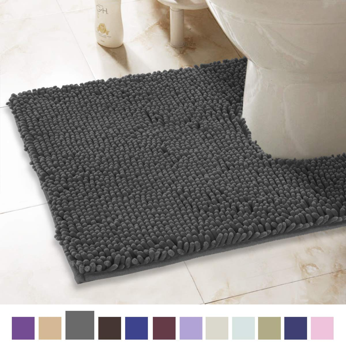 ITSOFT Non-Slip Shaggy Chenille Toilet Contour Bathroom Rug with Water Absorbent, Machine Washable, 21 x 24 Inches U-Shaped Charcoalgray