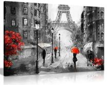 Black White Red Oil Painting Paris Eiffel Tower Street View Canvas Wall Art Picture Print (36x24)