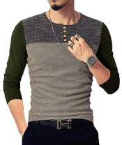NEOYOWO Mens Patchwork Shirt Long Sleeve Contrast Color T-Shirt Casual Stitching Buttons Henley Tops