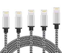 iPhone Charger iPhone cables MFi Certified Lightning 5Pack 3/3/6/6/10ft Cable Nylon Braided USB Charging & Syncing Cord Compatible iPhone Xs/Max/XR/X/8/8Plus/7/7Plus/6/6S Plus/SE/iPad