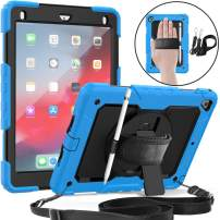 Jollyfit New iPad 9.7 Case 2018 (6th Gen) / 2017 (5th Gen), iPad Air 2, Heavy Duty Protective Case, 360 Degree Rotating Kickstand, Built-in Screen Protector, Hand & Shoulder Straps (Light Blue)