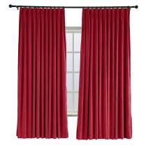 TWOPAGES 84 W x 84 L Pinch Pleated Curtains Room Darkening Velvet Curtain with Blackout Lining for Living Room Bedroom Meetingroom Club Theater Patio Door (1 Panel), Raspberry Red