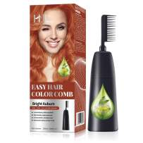 HJL Hair Color Ammonia-Free with Comb Applicator Permanent Hair Dye Cream Hair Coloring Kit, Bright Auburn, Pack of 1