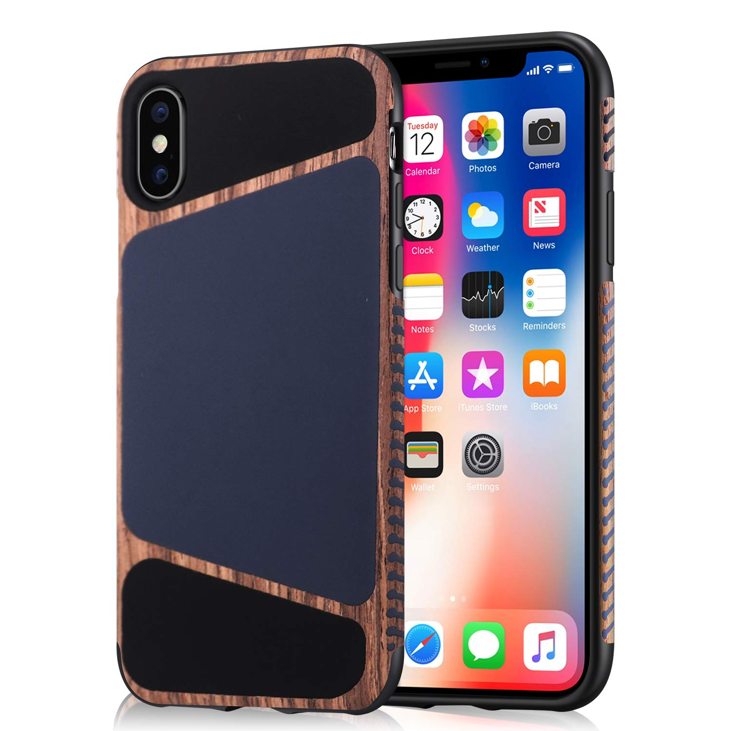 Mthinkor iPhone Xs Case, iPhone X Case Wood Grain Stitching Liquid Silicone Leather Case Compatible with iPhone X/iPhone Xs (Blue)