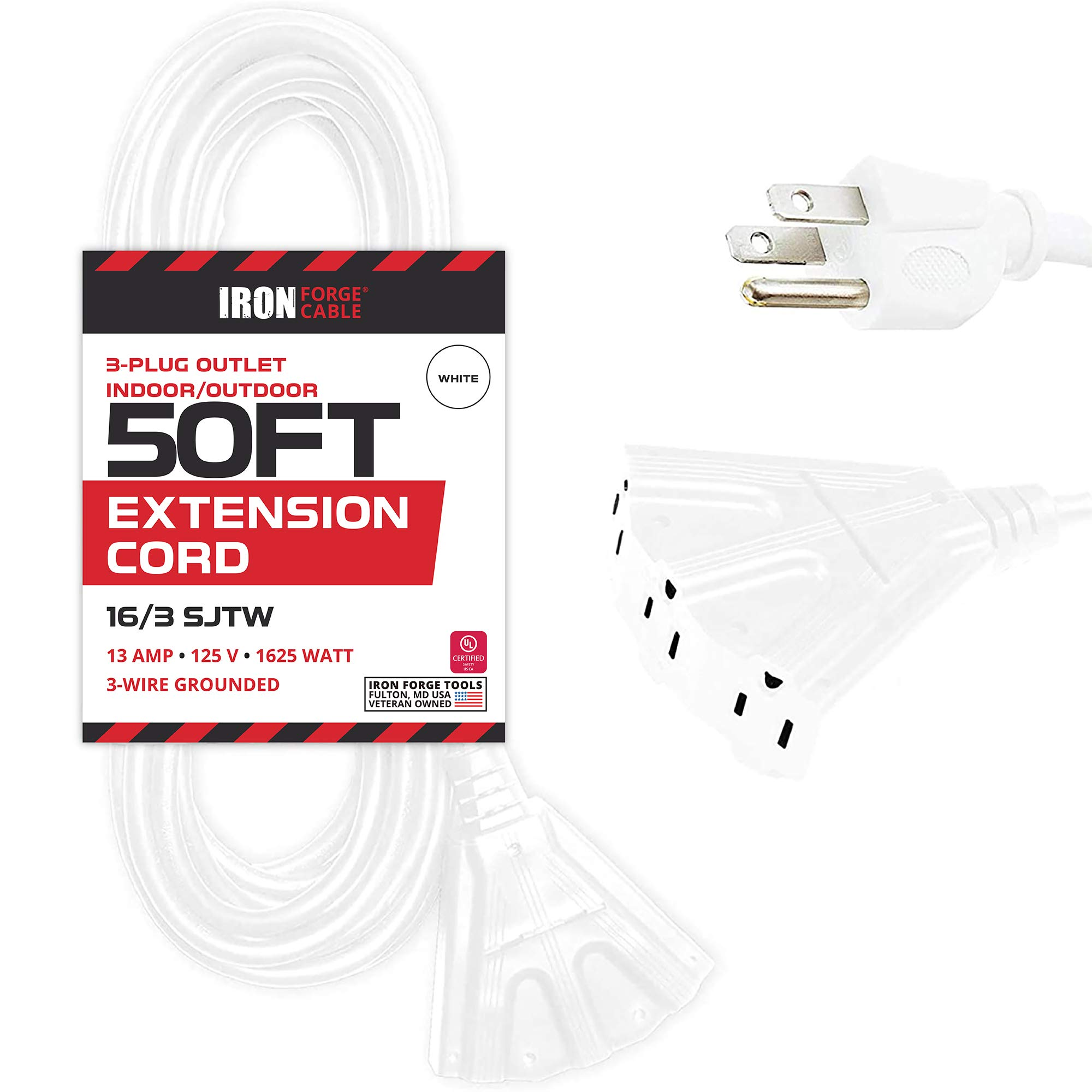 50 Ft Outdoor Extension Cord with 3 Electrical Power Outlets - 16/3 SJTW Durable White Cable